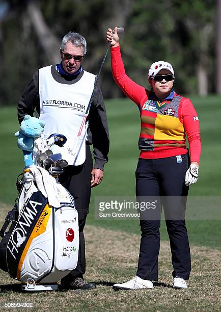 Ha Na Jang of South Korea plays a shot on the 18th hole during the continuation of the second round of the Coates Golf Championship Presented By RL...