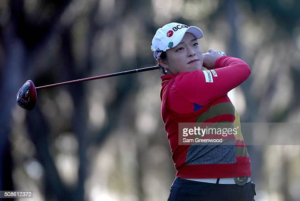Ha Na Jang of South Korea plays a shot on the second hole during the third round of the Coates Golf Championship Presented By RL Carriers at Golden...
