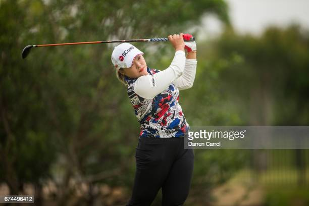 Ha Na Jang of South Korea plays a tee shot at the second hole during the second round of the Volunteers of America North Texas Shootout at Las...