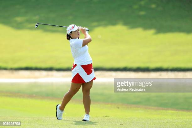 Ha Na Jang of South Korea plays her second shot on the fifth hole during the final round of the HSBC Women's World Championship at Sentosa Golf Club...