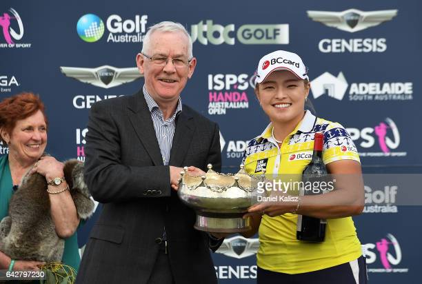 Ha Na Jang of South Korea poses for a photo after winning the Women's Australian Open during round four of the ISPS Handa Women's Australian Open at...