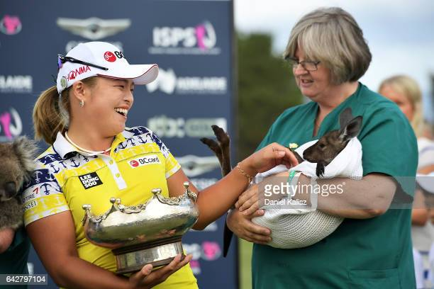 Ha Na Jang of South Korea poses for a photo with a kangaroo and her trophy after winning the Women's Australian Open during round four of the ISPS...