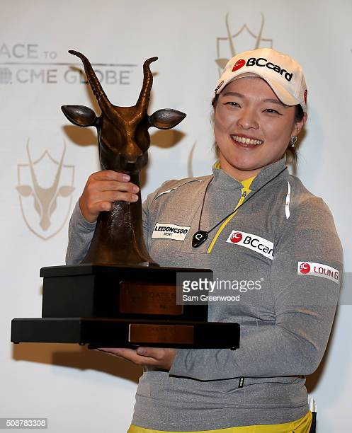 Ha Na Jang of South Korea poses with the trophy following the final round of the Coates Golf Championship Presented By RL Carriers at Golden Ocala...
