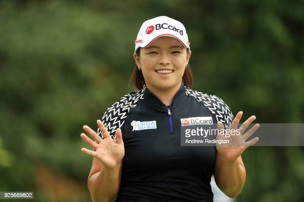 Ha Na Jang of South Korea reacts on the ninth hole during round one of the HSBC Women's World Championship at Sentosa Golf Club on March 1 2018 in...