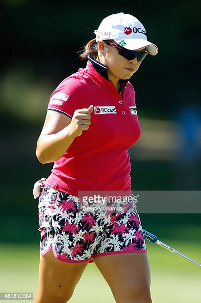 Ha Na Jang of South Korea reacts to a birdie putt on the 10th green during the second round of the Meijer LPGA Classic presented by Kraft at...