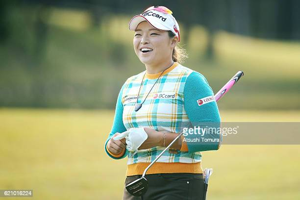Ha Na Jang of South Korea smiles during the first round of the TOTO Japan Classics 2016 at the Taiheiyo Club Minori Course on November 4 2016 in...