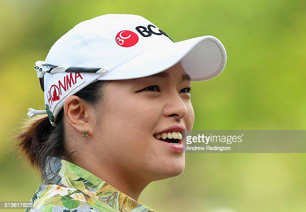 Ha Na Jang of South Korea smiles on the first hole during the second round of the HSBC Women's Champions at Sentosa Golf Club on March 4 2016 in...