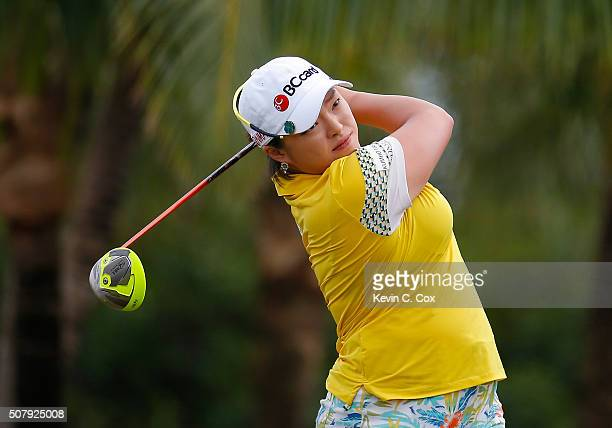 Ha Na Jang of South Korea tees off the fourth hole during the final round of the Pure Silk Bahamas LPGA Classic at the Ocean Club Golf Course on...