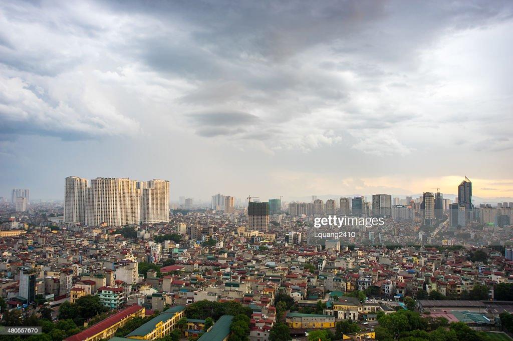Ha Noi Cityscape in a cloudy sky : Stock Photo