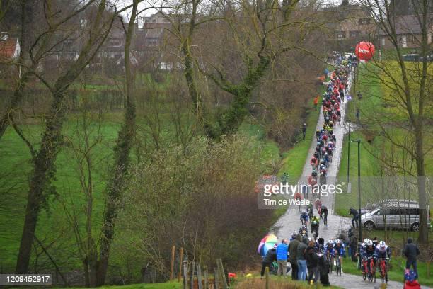 Haaghoek / Cobblestones / Peloton / Landscape / Public / Fans / during the 75th Omloop Het Nieuwsblad 2020, Men Race a 200km race from Ghent to...