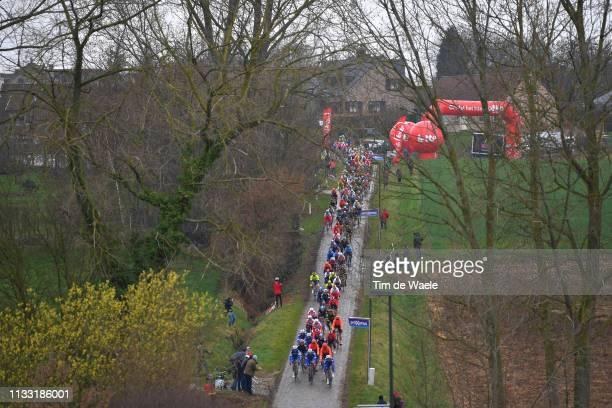 Haaghoek / Landscape / Peloton / Fans / Public / Cobblestones / during the 74th Omloop Het Nieuwsblad 2019 a 200km race from Gent to Ninove /...