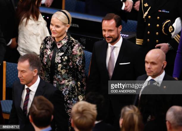 Haakon Crown Prince of Norway and his wife MetteMarit Crown Princess of Norway arrive at the city hall in Oslo Norway for the award ceremony of the...