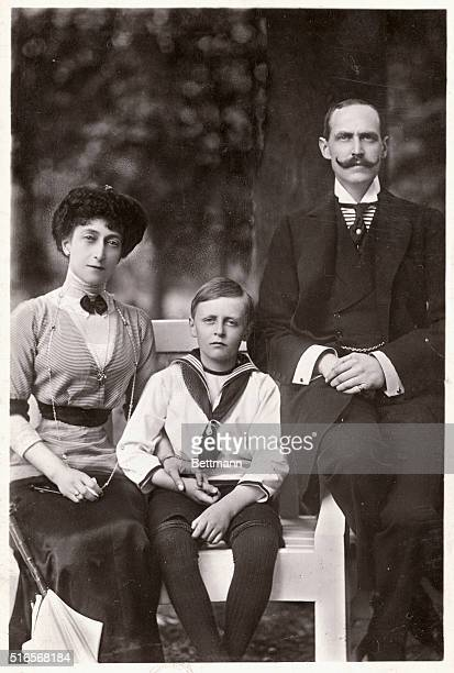 Haakon VII King of Norway with his wife Queen Maud and their son Prince Olaf who will later become King Olaf V of Norway