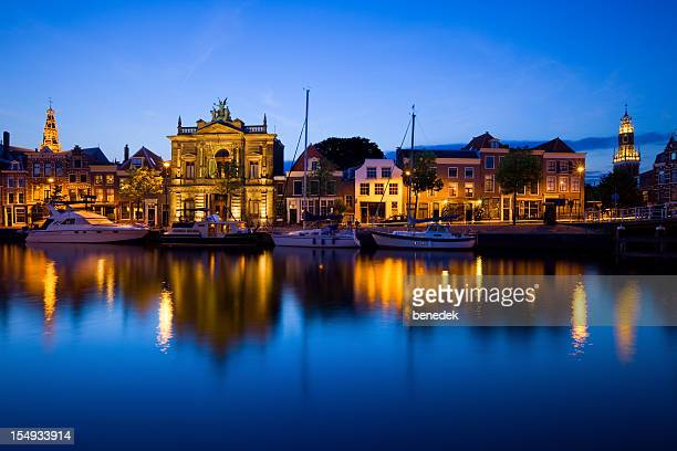 haarlem netherlands and the spaarne river - haarlem stock photos and pictures
