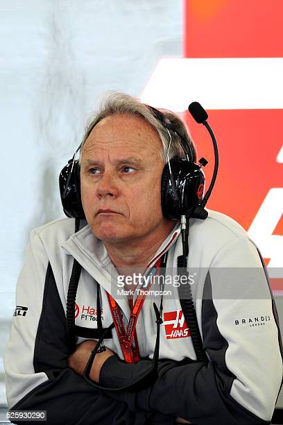 Haas F1 Founder and Chairman Gene Haas in the garage during practice for the Formula One Grand Prix of Russia at Sochi Autodrom on April 29, 2016 in...