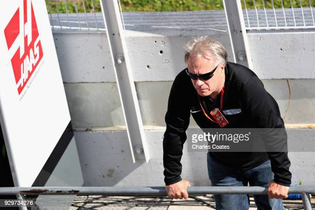 Haas F1 Founder and Chairman Gene Haas looks on from the pitwall during day four of F1 Winter Testing at Circuit de Catalunya on March 9, 2018 in...