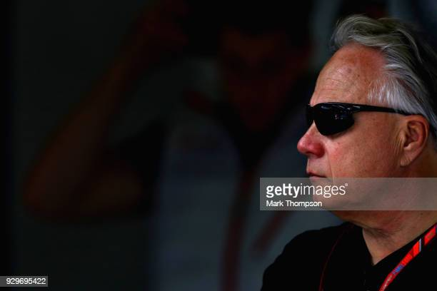 Haas F1 Founder and Chairman Gene Haas looks on in the garage during day four of F1 Winter Testing at Circuit de Catalunya on March 9, 2018 in...
