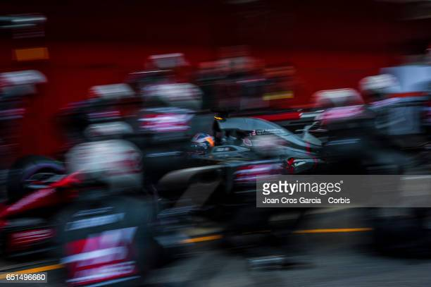 Haas F1 Team mechanics in action during the Formula One Winter tests on May 10 2017 in Barcelona Spain