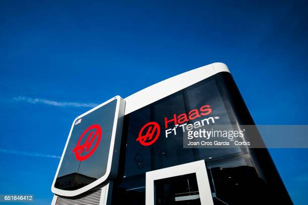 Haas F1 Team motorhome during the Formula One Winter tests on May 10 2017 in Barcelona Spain