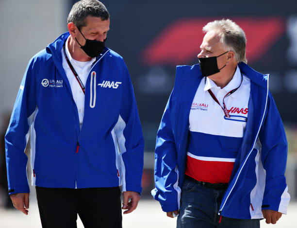 Haas F1 Team Principal Guenther Steiner and Haas F1 Founder and Chairman Gene Haas walk in the Paddock ahead of the F1 Grand Prix of Portugal at...