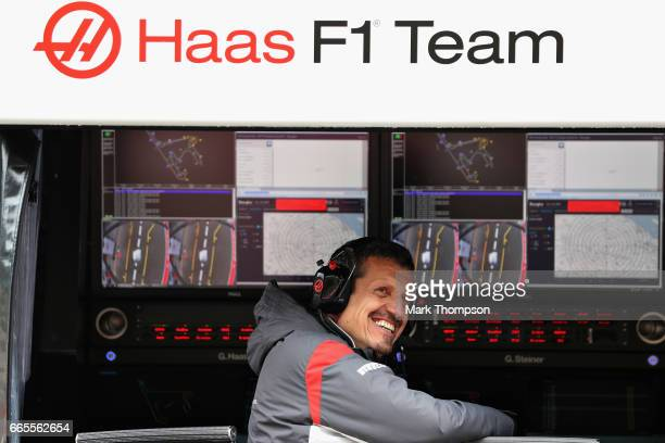 Haas F1 Team Principal Guenther Steiner sits on the pit wall gantry during practice for the Formula One Grand Prix of China at Shanghai International...