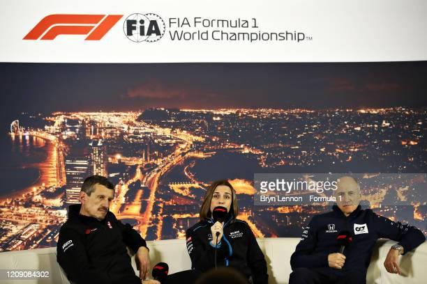 Haas F1 Team Principal Guenther Steiner Williams Deputy Team Principal Claire Williams and Scuderia AlphaTauri Team Principal Franz Tost talk in a...