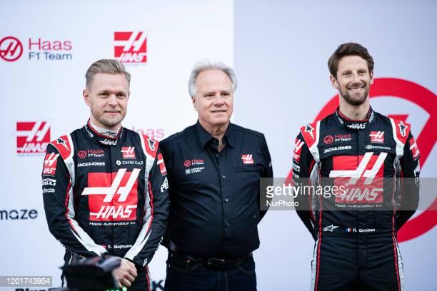 Haas F1 TeamHaas F1 Team Ferrari VF-20 presentation with Kevin Magnussen, Romain Grosjean and HAAS Gene , Founder & Chairman of Haas Automation...