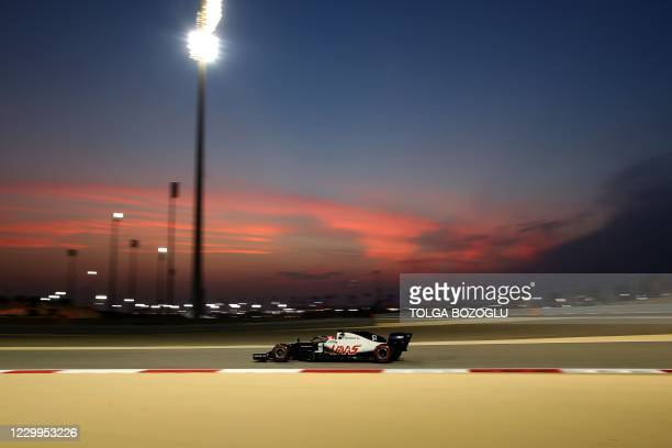 Haas F1's Brazilian driver Pietro Fittipaldi drives during the third practice session ahead of the Bahrain Formula One Grand Prix at the Bahrain...