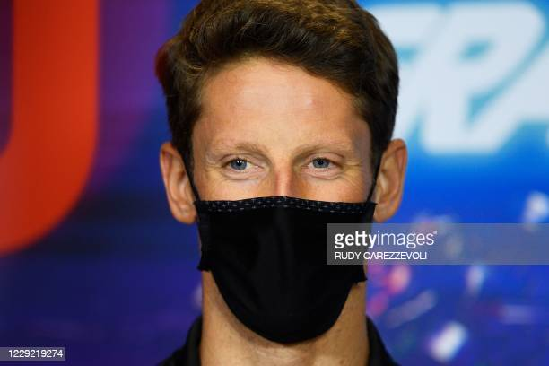 Haas F1's French driver Romain Grosjean attends the official press conference ahead of the Portuguese Formula One Grand Prix at the Algarve...