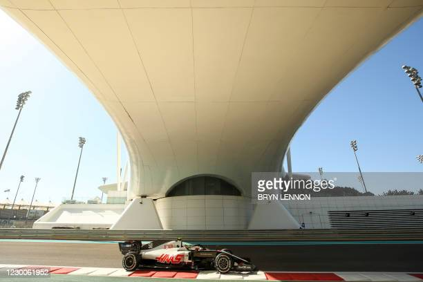 Haas F1's German driver Mick Schumacher drives during the first practice session ahead of the Abu Dhabi Formula One Grand Prix at the Yas Marina...