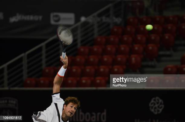 R Haase during hi game against [WC] A Andreev / D Kuzmanov Sofia Open 2019 at Arena Armeec Hall in the Bulgarian capital of Sofia Bulgaria on...
