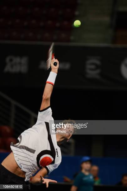 R Haase during his game againsts [WC] A Andreev / D Kuzmanov Sofia Open 2019 at Arena Armeec Hall in the Bulgarian capital of Sofia Bulgaria on...