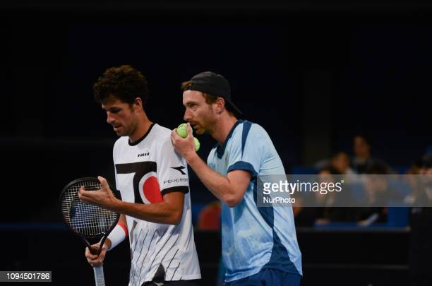 R Haase Left / M Middelkoop Right during their game againsts [WC] A Andreev / D Kuzmanov Sofia Open 2019 at Arena Armeec Hall in the Bulgarian...