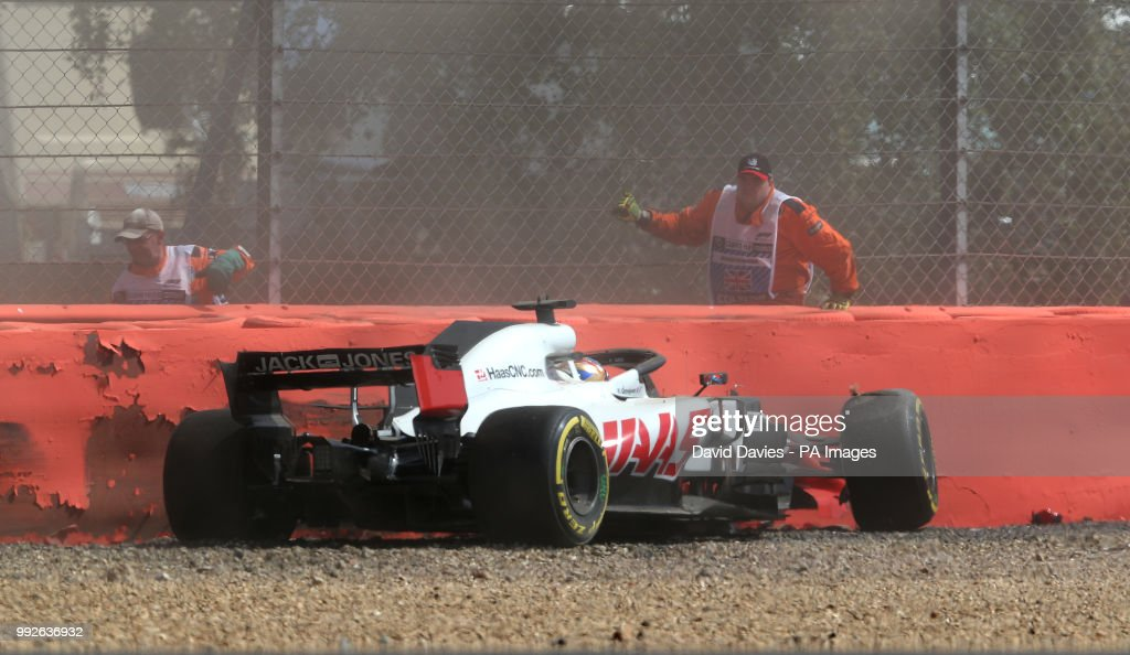 Haas-Ferrari's Romain Grosjean crashes out during practice ahead of