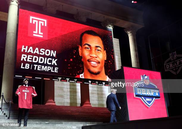 Haason Reddick of Temple reacts after being picked overall by the Arizona Cardinals during the first round of the 2017 NFL Draft at the Philadelphia...