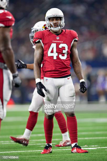 Haason Reddick of the Arizona Cardinals at the line of scrimmage during a game against the Dallas Cowboys at ATT Stadium during week 3 of the...