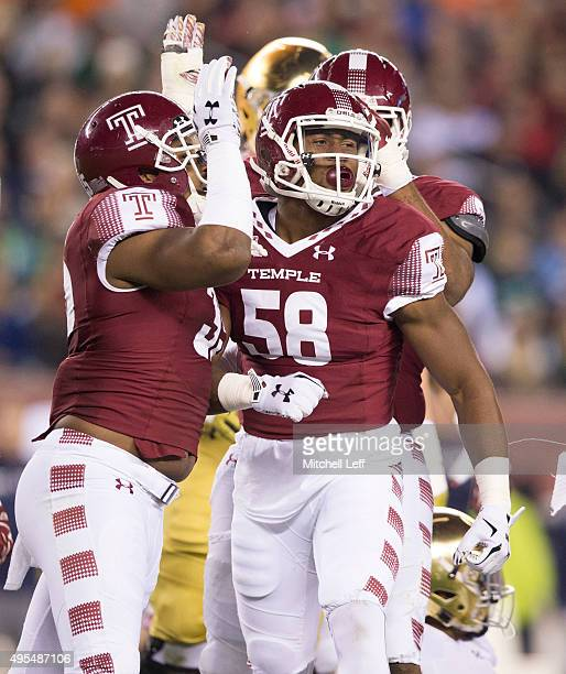 Haason Reddick of the Temple Owls reacts with teammates during the game against the Notre Dame Fighting Irish on October 31 2015 at Lincoln Financial...