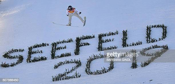 Haavard Klemetsen of Norway competes during the jumping event of the nordic combined world cup on January 29 2016 in Seefeld Austria / AFP / APA /...