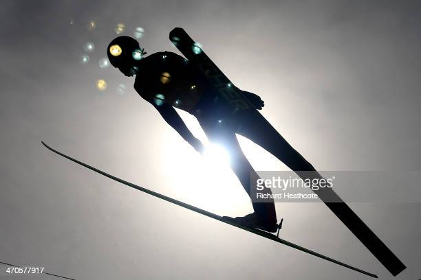 Haavard Klemetsen of Norway competes in the Nordic Combined Men's Team LH during day 13 of the Sochi 2014 Winter Olympics at RusSki Gorki Jumping...