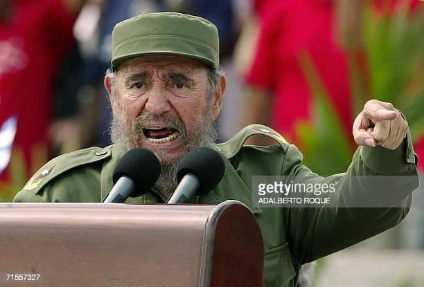 Cuban President Fidel Castro presides over a massive May Day demonstration at Havana's Plaza de la Revolucion , 01 May 2005. A spokesman of Cuban...