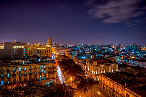 Habana Lights: View Of Habana At Night Wall Art