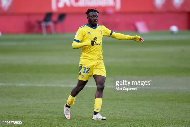 Habeeb Omobolaji 'Bobby' Adekanye of Cadiz CF runs during the Copa del Rey round of 32 match between Girona FC and Cadiz CF at Montilivi Stadium on...