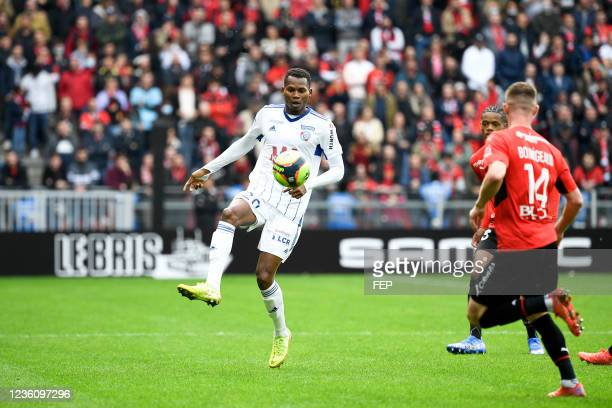 Habib DIALLO during the Ligue 1 Uber Eats match between Rennes and Strasbourg at Roazhon Park on October 24, 2021 in Rennes, France.