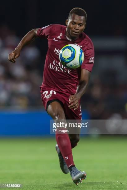 Habib Diallo of FC Metz controls the ball during the Ligue 1 match between FC Metz and Paris SaintGermain at Stade SaintSymphorien on August 30 2019...
