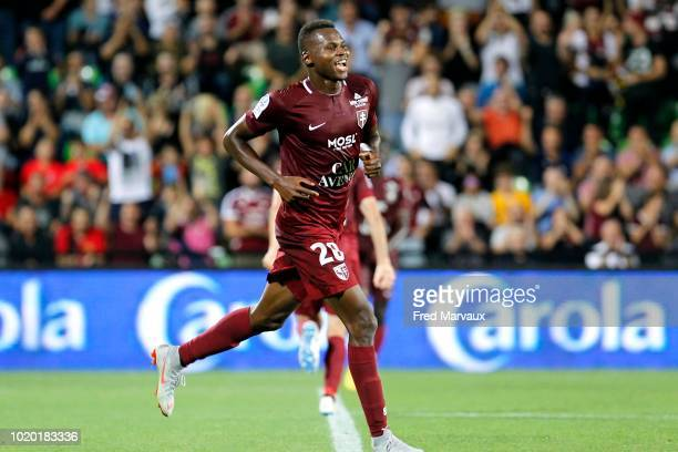 Jeremy Choplin of AC Ajaccio and Habib Diallo of Metz during the French Ligue 2 match between FC Metz and AC Ajaccio at Stade SaintSymphorien on...