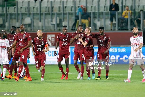 Habib Diallo of Metz celebrates scoring his second goal during the French Ligue 2 match between FC Metz and AC Ajaccio at Stade SaintSymphorien on...