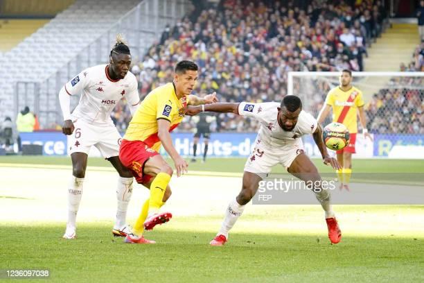 Habib MAIGA - 07 Florian SOTOCA - 06 Kevin NDORAM during the Ligue 1 Uber Eats match between Lens and Metz at Stade Bollaert-Delelis on October 24,...