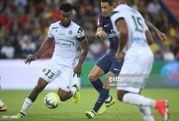 Habib Maiga of SaintEtienne and Angel Di Maria of PSG during the French Ligue 1 match between Paris Saint Germain and AS SaintEtienne at Parc des...