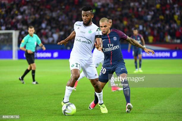 Habib Maiga of St Etienne and Layvin Kurzawa of PSG during the Ligue 1 match between Paris Saint Germain and AS Saint Etienne at Parc des Princes on...