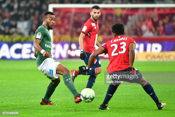 Habib Maiga of St Etienne and Thiago Mendes of Lille during the Ligue 1 match between Lille OSC and AS SaintEtienne at Stade Pierre Mauroy on...